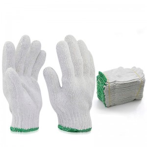 Cotton Polyester Gloves, Protective Industrial Work Gloves
