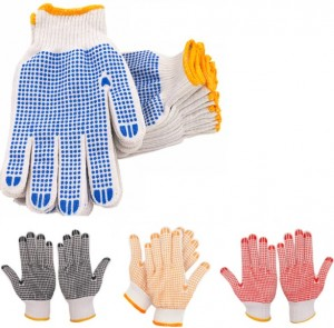 PVC-Dotted String Knit Gloves