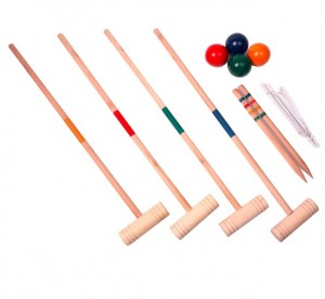 Wooden croquet set, croquet game