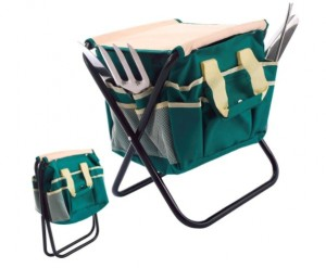 Large Garden Tool Bag with Pockets & Folding Stool