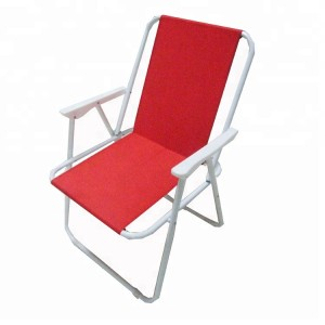 folding beach chair with pp plastic armrest