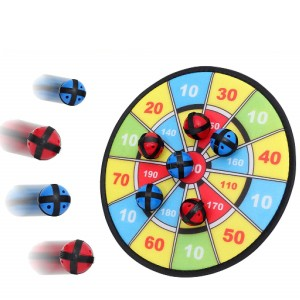 Indoor shooting target game with darts and sticky balls