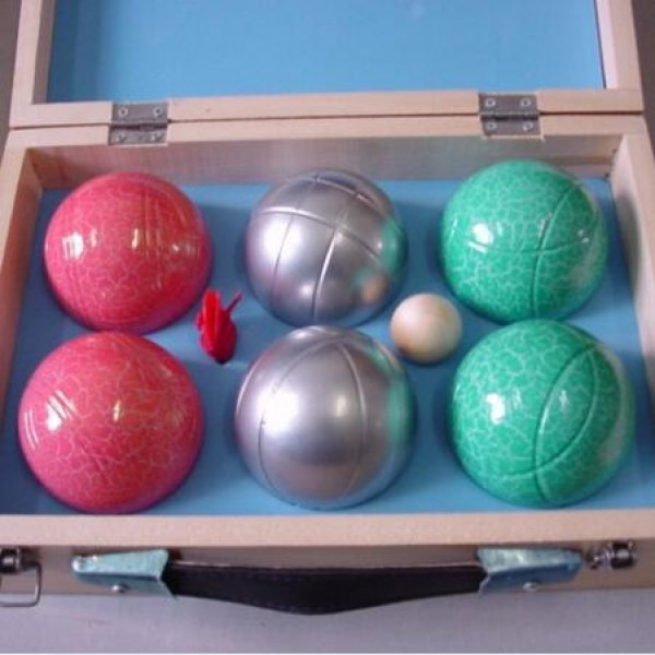 Powder coating metal petanque boules