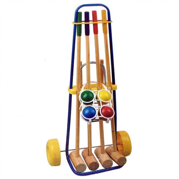 Wooden croquet set with wheel cart