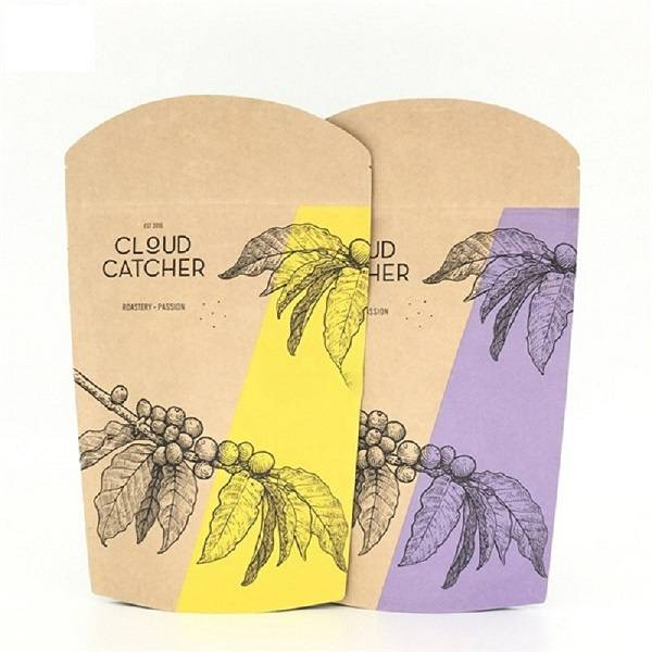 biodegradable Eco-friendly brown Kraft paper bag for coffee doypack