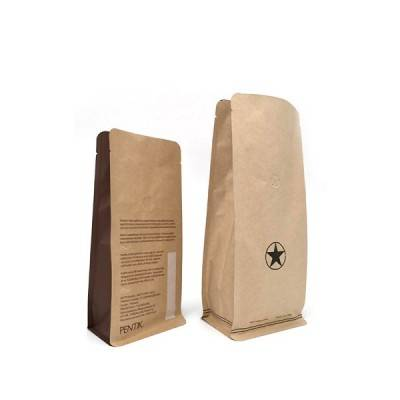 Cassava Compostable Kraft Paper  Bag Food Degradable Stand up Packaging Bag