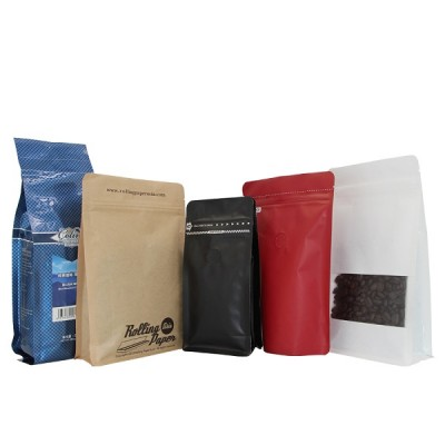 Resealable recycle flat bottom coffee bean packaging bags with valve