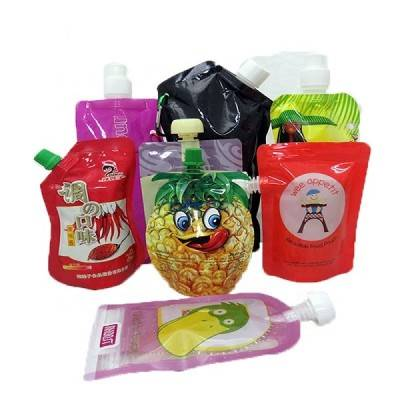 Custom printed ziplock clear drink reusable food spout pouch plastic liquid stand up pouch with spout