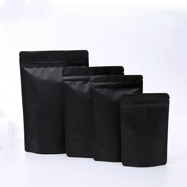 Matte Black Dried Food Aluminum Foil Stand up Bags Zip Lock Doypack Featured Image