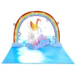 Unicorn & Rainbow 3D Greeting Card Bütün hallar üçün Up Pop