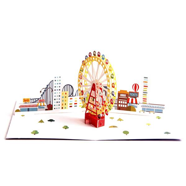 2017 China New Design Christmas Card - 3D Pop Up Greeting Card – Magical Ferris Wheel Ride to Cloud Top – Birthday Cards Graduation Cards – Jiujv