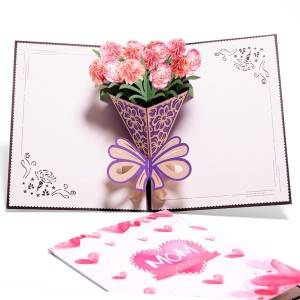 Carnation Blossom Pop Up Cards,  Best Paper Greetings
