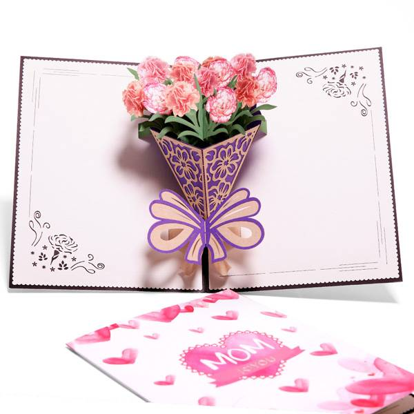 2017 New Style Popup Card 3d - Carnation Blossom Pop Up Cards,  Best Paper Greetings  – Jiujv detail pictures