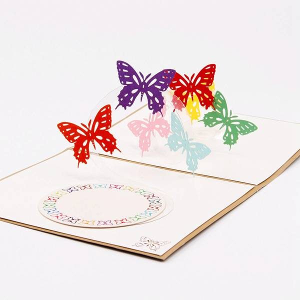 China Cheap price Laser Pop Up Card - Butterfly 3D Pop-Up Greeting Card With 7 Magic Flying Butterflies Hand Assembled Ideal for Birthdays Wedding – Jiujv detail pictures