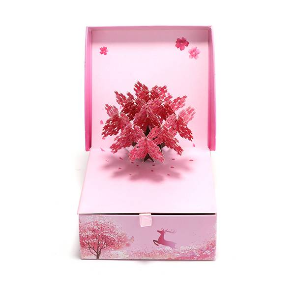 Best Price onWedding 3d Pop Up Greeting Card - New Design Pop Up Cherry Flower Gift Box – Jiujv