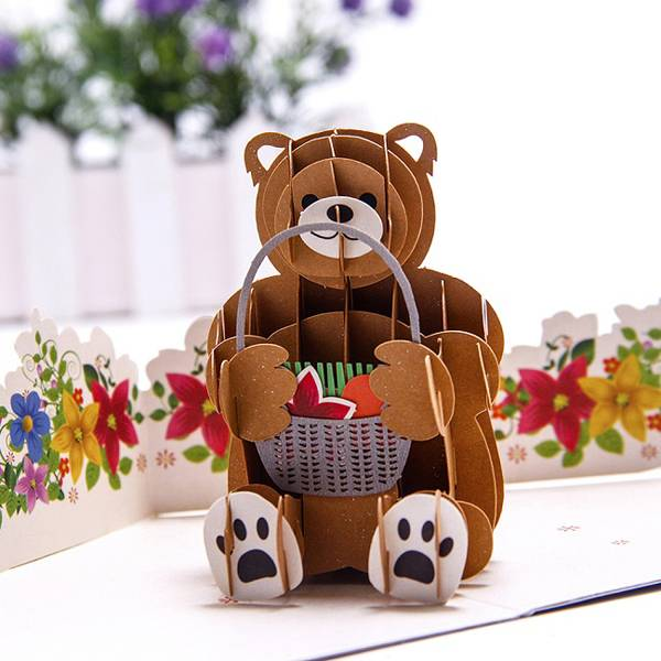 Trending ProductsPop Out Cards - Custom Creative Bear design paper wedding invitation 3d pop up cards – Jiujv detail pictures
