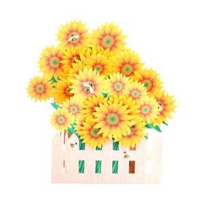 Folding handmade sunflower greeting card for home decoration
