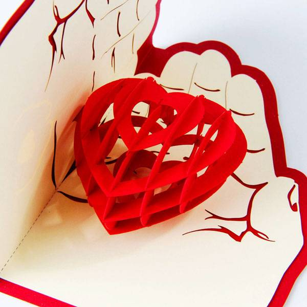 Wholesale Dealers of Laser Paper Cut - Love in the Hand heart pop up card love gift card – Jiujv