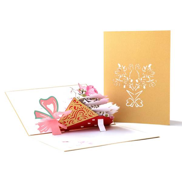 Renewable Design for Pop Up Valentine Cards - laser cutting Magnolia flower greeting card for Thanksgiving Day – Jiujv