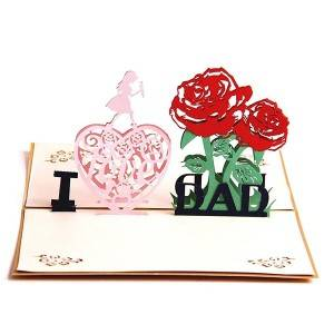 I Love Factory tata Pop Up Card Očev dan Present kartica Supply