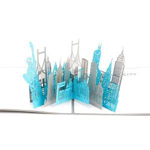 New York City Sketch Card Laser Cut Origami Gift card