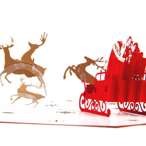 OEM/ODM China Christmas Card Ideas - Santa, Sleigh and Reindeer Christmas 3D Pop Up Card  – Jiujv