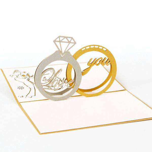 Cheapest PriceHeart Shape Greeting Card - Diamond ring Wedding Pop Up Greeting Cards 3D – Jiujv Featured Image
