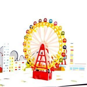 3D Pop Up apsveikuma kartīte - Magical Ferris Wheel Ride Cloud Top - Birthday Cards Izlaidums Cards