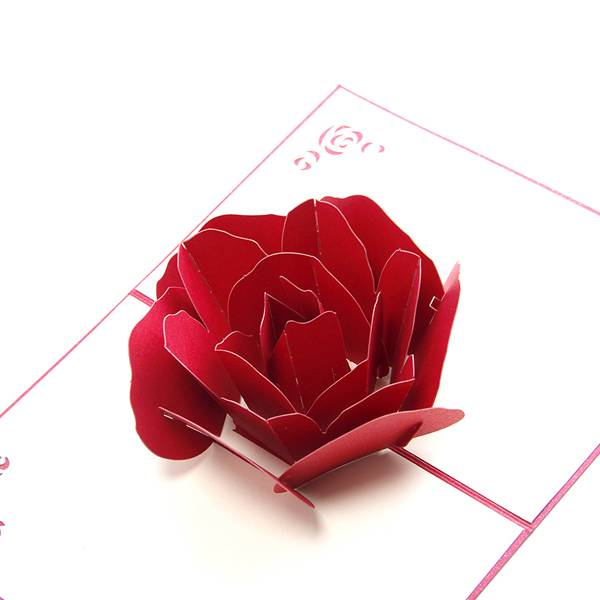 Wholesale New Year Greeting Cards - Red Rose 3D Flower Wedding Pop up Cards for Invitation – Jiujv Featured Image