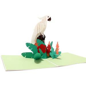 3d pop up paper engrave white parrot handwork originality greeting gift card customized