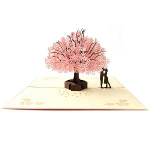 Romantis Sakura 3D pop up kartu kado