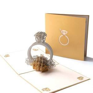 Customise Printing Laser Cut Romantic Ring Wedding Invitation Cards