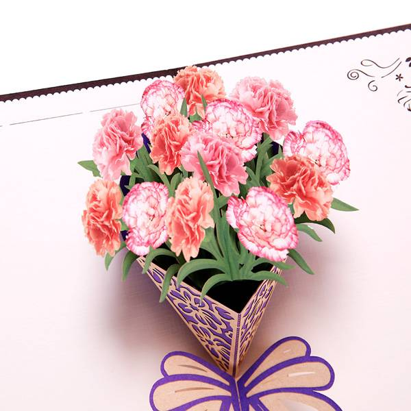 Manufactur standard Music Greeting Card - Carnation Blossom Pop Up Cards,  Best Paper Greetings  – Jiujv