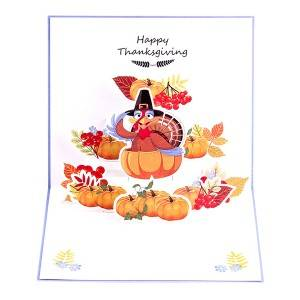 Halloween Pumpkin 3D Paper Greeting Thank You Card Handmade