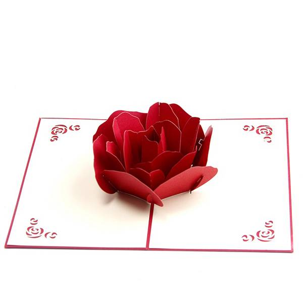 Wholesale New Year Greeting Cards - Red Rose 3D Flower Wedding Pop up Cards for Invitation – Jiujv