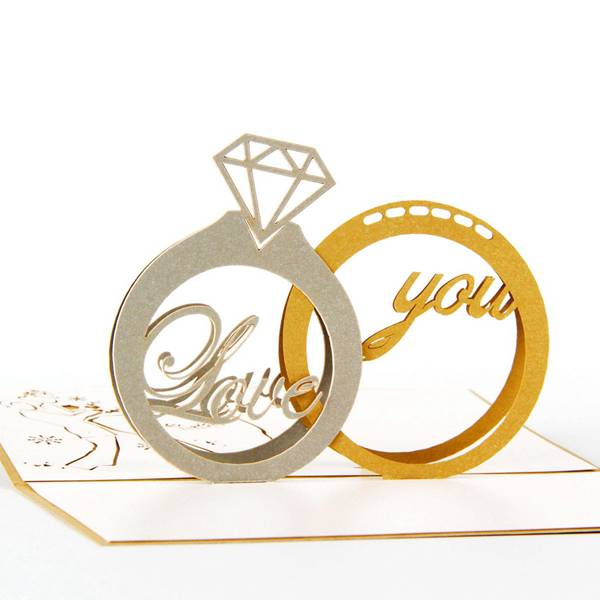 Cheapest PriceHeart Shape Greeting Card - Diamond ring Wedding Pop Up Greeting Cards 3D – Jiujv