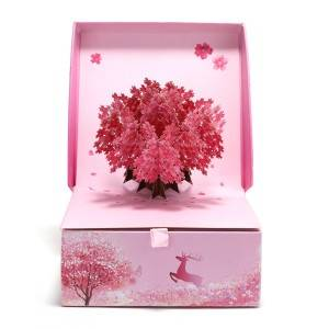 Desain Baru Pop Up Cherry Flower Gift Box