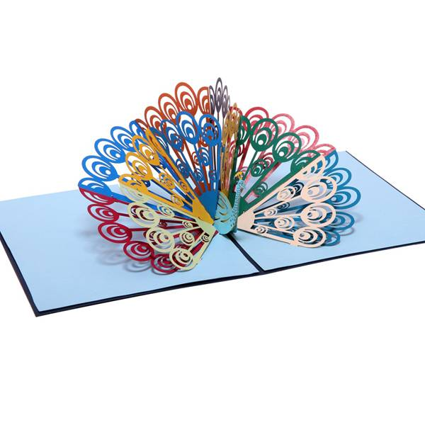 Professional ChinaChristmas Greetings - China factory customise handmade colorful peacock pop up cards – Jiujv detail pictures