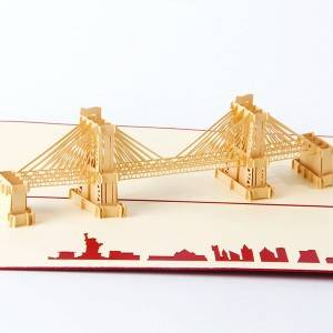 Brooklyn Bridge Building Personalised 3d Paper Cut Card