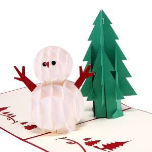 Popup Christmas Card with Tree and Snowman