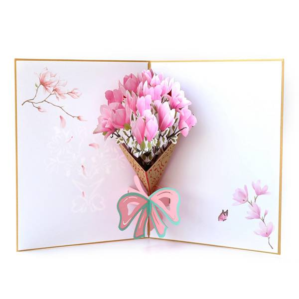 Renewable Design for Pop Up Valentine Cards - laser cutting Magnolia flower greeting card for Thanksgiving Day – Jiujv Featured Image