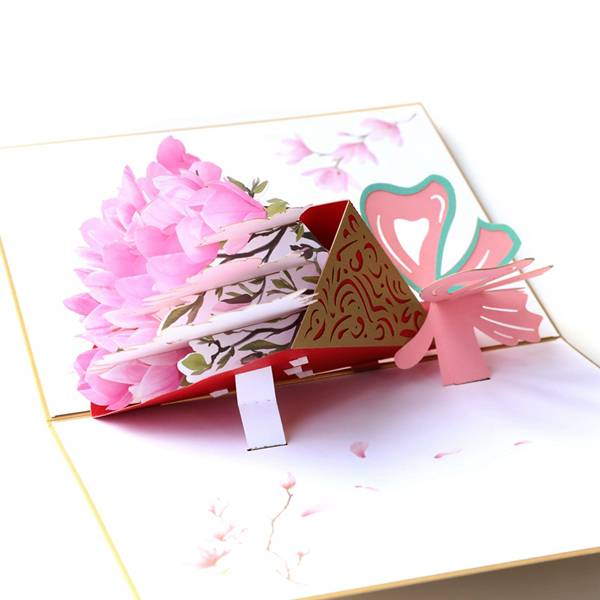 Renewable Design for Pop Up Valentine Cards - laser cutting Magnolia flower greeting card for Thanksgiving Day – Jiujv detail pictures