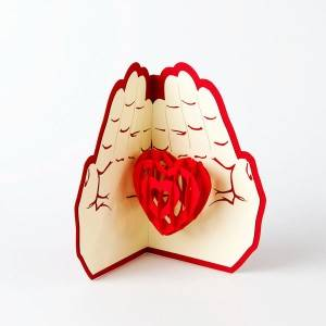 Love in the Hand heart pop up card love gift card