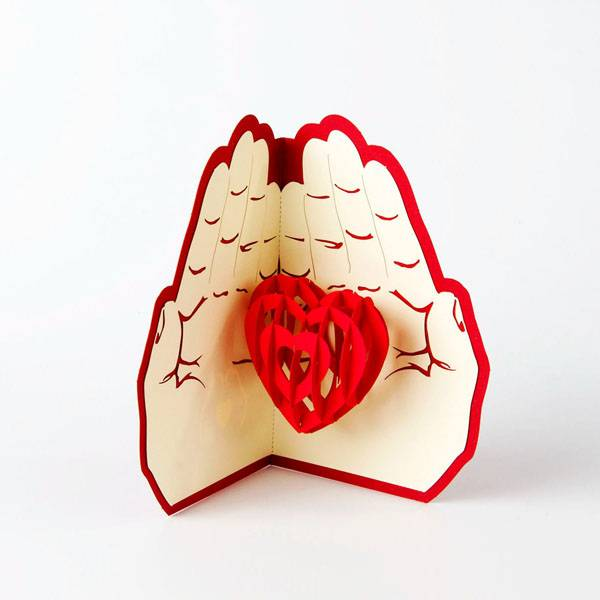 Wholesale Dealers of Laser Paper Cut - Love in the Hand heart pop up card love gift card – Jiujv Featured Image
