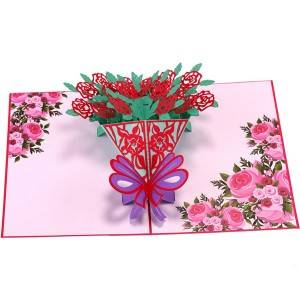 Laser cut rose bouquet  3D flower pop up Greeting Card with Envelopes for Wedding Birthday Anniversary