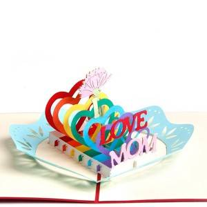 Handmade 3D Pop Up Mother's Day Greeting Cards Thank You Cards for Mom – I LOVE MOM