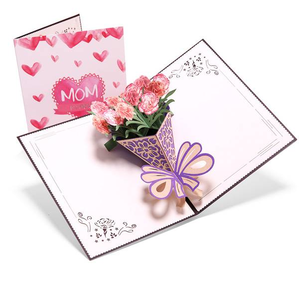 Manufactur standard Music Greeting Card - Carnation Blossom Pop Up Cards,  Best Paper Greetings  – Jiujv detail pictures