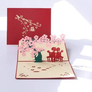 Romantic Pink Cherry Tree With Couple 3D Pop Up Gift Card