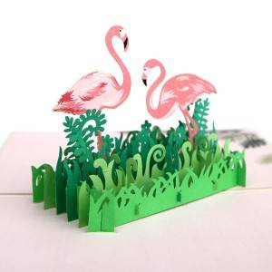 Flamingo Bird 3D Pop-up Beannacht Cártaí Lovely Handmade Bronntanais do do chairde