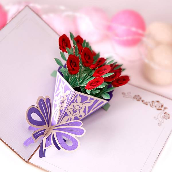 Super Lowest Price Wedding Card Design - Flower Pop Up  Greeting Card with Envelopes for All Occasions – Jiujv detail pictures